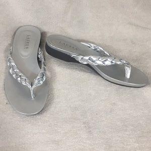 Ralph Lauren Silver Braided Sandals Thongs 8.5 EUC